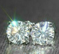3Ct Round Brilliant Cut Moissanite Diamond Stud Earrings 14K White Gold Finish