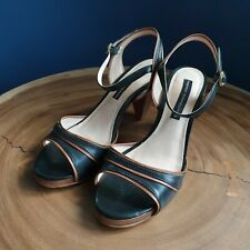French Connection Womens Size 39 Black Brown Strappy Sandal Heel Peaky Blinders