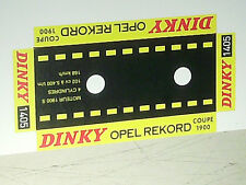 REFABRICATION SOCLE CARTON POUR BOITE OPEL REKORD DINKY TOYS 1968
