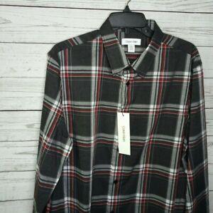 Calvin Klein Men's L/S Button Down Plaid Cotton Dress Shirt LARGE NWT $69.50