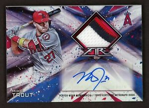 2017 Topps FIRE Mike Trout Signed Game Used GU 3-Color Patch AUTO 20/25 Angels