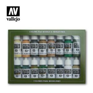 Vallejo 70109 WWII Allied Model Color Paint Set (16 Colors) 17ml Bottles