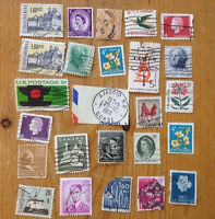 Vtg International Postage Stamps Lot Used Posted US UK Europe Colorful Crafts