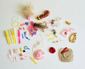 Vtg Barbie Doll Accesories Lot Hair Pieces Purses Hats Jewelry Brushes 80s