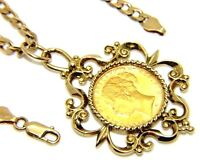 Ladies  Womens 9ct 9carat Yellow Gold Curb Chain & Full Sovereign in Fancy Mount