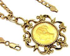 Donne 9kt 9 carati Oro Giallo Catena A Maglia Barbazzale & Intera Sovrano in