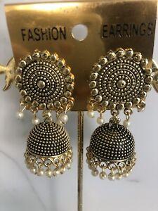 New Costume Jewellery Jhumka Jhumki Earrings Oxidise Gold Plated With Pearls
