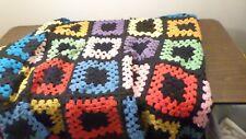 Vintage Hand Crochet Afghan Throw Blanket 76x80