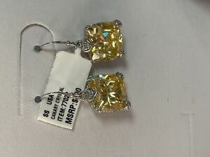 Judith Ripka Canary Crystal Cushion Cut Earrings Sterling Silver