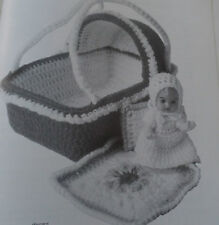 "Small SWEET TOY 4.5""  BABY DOLLS CROCHET PATTERNS DRESS - OUTFIT - CARRY BASKET"