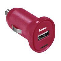 Hama USB Ladegerät Charge Auto Zigarettenanzünder Adapter KFZ Handy Lader Pink