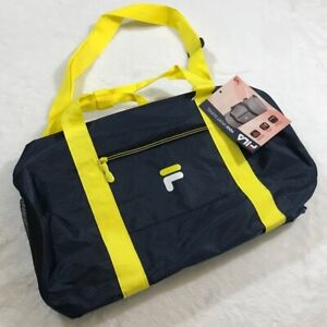 NEW FILA BAG NWT YOGI SPORT DUFFEL NAVY BLUE YELLOW LOGO YOGA SPORT GYM ATHLETIC