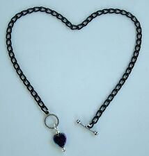"custom anklet with Ab heart pendant Black aluminum chain Nickel Free 10"" or"