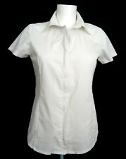 LEE Classic White Cotton Two-Way Zip Short Sleeve Shirt Top M 10 12