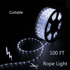 100 FT LED Rope Light Cold White 110V Outdoor Xmas Decorative Party Lighting