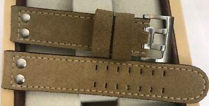 22mm Hamilton Wildleder Uhrenarrmband beige neutrale Dornschließe doppelreihig