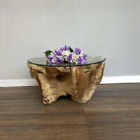 Teak Root Round  Coffee Table with Toughened safety glass top