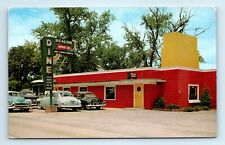 Belvidere IL Postcard - Beacon Drive-In Restaurant  Old Cars