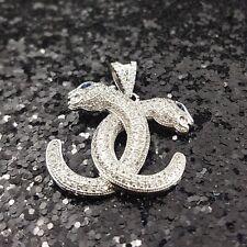 18K White Gold Filled Stylish Italian Diamond 18ct GF Panther Pendant 25mm
