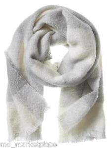 NEW BANANA REPUBLIC Mens Womens Cozy Wool Grey Buffalo Check Fringe Scarf Soft