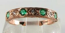 CLASSIC 9CT ROSE GOLD COLOMBIAN EMERALD & DIAMOND ETERNITY RING FREE Size 99