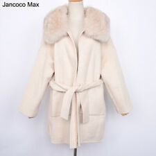 Women Oversized Wool Coat Hooded Long Jackets Real Fur Collar Cashmere 37494