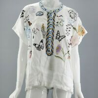 NWT $205 Johnny Was Natural Wildlife Embroidered Nabi Linen Blouse Medium