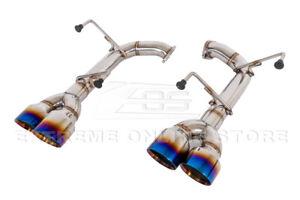 For 15-21 Subaru WRX STi Muffler Delete Axle Back 4 Inch Quad Burnt Tips Exhaust