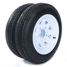 "Two Trailer Tires & Rims 4.80-12 480-12 4.80 X 12 12"" 5 Lug Wheel White Spoke"