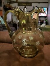 VICTORIAN GREEN BLOWN GLASS ENAMELED FLOWER AND GILT PITCHER W/THREADED HANDLE