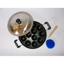 Indian Appam Patra Maker 12 Pit With Lid + Plastic Wire Mesh + Wood Turner