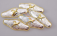 5X Bling Floral Gold Horse Rope Side Leathercraft Western Cowboy Saddles Concho