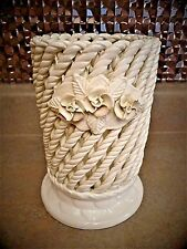 Vintage Spain Pottery Ceramic Twisted Rope Open Weave Ivory Basket VASE Roses