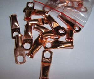 """(4) 1/4"""" Wire Ring Terminal Copper 6 AWG Gauge Connectors Terminals Car Power"""