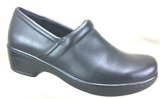 YUU Women's Bethanee Slip On Professional Black Leather Clogs Shoes US Size 8M