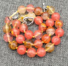"12mm Watermelon Tourmaline Round Beads Necklace 18"" Tibetan Silver Love Clasp"