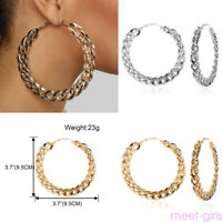 Boho Women's Silver Gold Plated Round Hoop Drop Earrings Pair Fashion  Jewellery