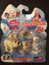 Snow Pets in my Pocket POLAR BEAR Mom & Babies NEW 5 Fuzzy Family Ermine Toy NIB
