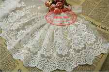 23 cm,1yard Delicate white embroidered flower tulle lace trim Sewing DIY FL132