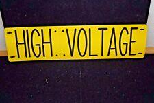 """NEW HIGH VOLTAGE ENGRAVED LASER CUT SIGN 3 1/2"""" BY 14"""" ALMETEK IND INC 1990"""