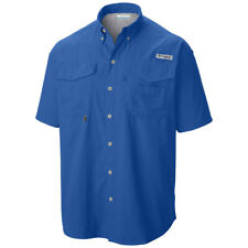 Columbia Mens Pfg Bahama II Short Sleeve Fishing Shirt UPF 30 Vivid Blue XL