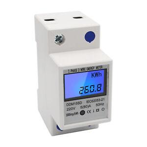 Digitale 220V 5-80A Monofase DIN-Rail Elettrico Contatore Energia KWh Metro U5S4