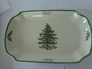 NEW SPODE CHRISTMAS TREE GREEN TRIM RECTANGULAR SCALLOPED TRAY