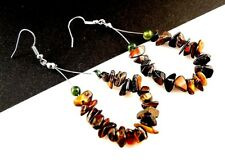 1 Bohemian Tear Drop Pair of Tigers Eye Gemstone Hoop Dangle Earrings - # 241