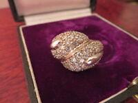 Bombastischer 925 Silber Ring Designer Zirkonia Funkelnd Schwer Groß Vintage Top