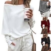 Damen Schulterfrei Pullover Pulli Strickpullover Winter Sweater Freizeit Longtop