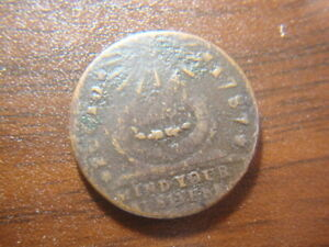 1787 Fugio Club Rays Copper Nice Looking Colonial Copper