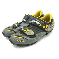 Shimano Mens Size 6 EUR 39 SPD Cycling Bike Shoes Gray Yellow SH-M082WY Leather