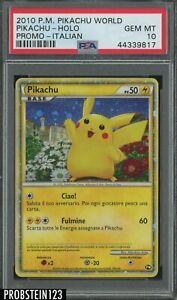2010 Pokemon ITALIAN Pikachu World Promo Holo Pikachu PSA 10 MINT