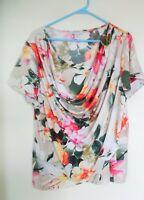 DRESSBARN Floral Cowl Neck Blouse Top Shirt Women's Sz 1X